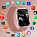 Mode Edelstahl Smart Uhr Frauen Männer Elektronik Sport Armbanduhr Für Android IOS Platz Smartwatch Smart Uhr Stunden-in Smart Watches aus Verbraucherelektronik bei