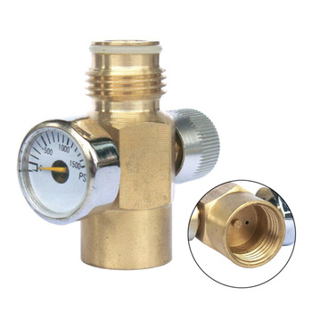 1500 PSI Brass Switch Valve Inner Thread Co2 Tank On Off  With Pressure Gauge Paintball Gear  G1/2-14 Switch valve