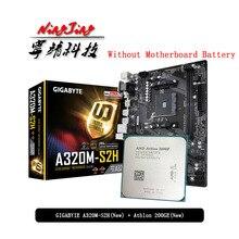 CPU AMD Athlon 200GE + GIGABYTE GA A320M S2H presa per scheda madre AM4 CPU + tuta madre senza dispositivo di raffreddamento