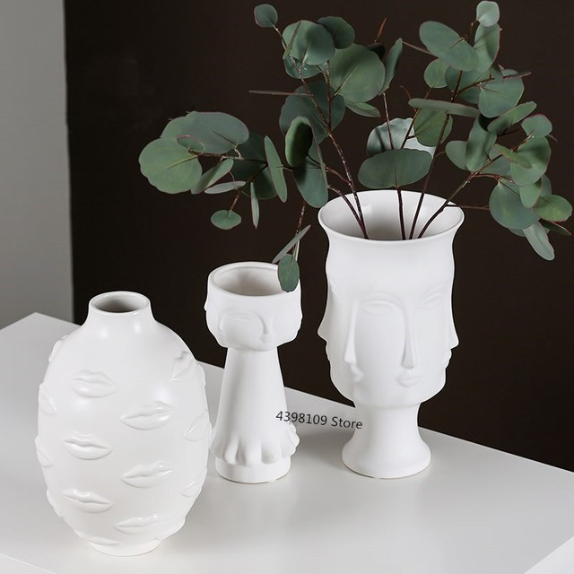 Nordic art ceramic vase creative black and white ceramic face vase decoration home decoration crafts porcelain vase decoration 3