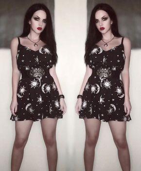 Sun Moon Gothic Mini Dress Women's Clothing & Accessories All Dresses Lolita Dresses Dresses cb5feb1b7314637725a2e7: Black