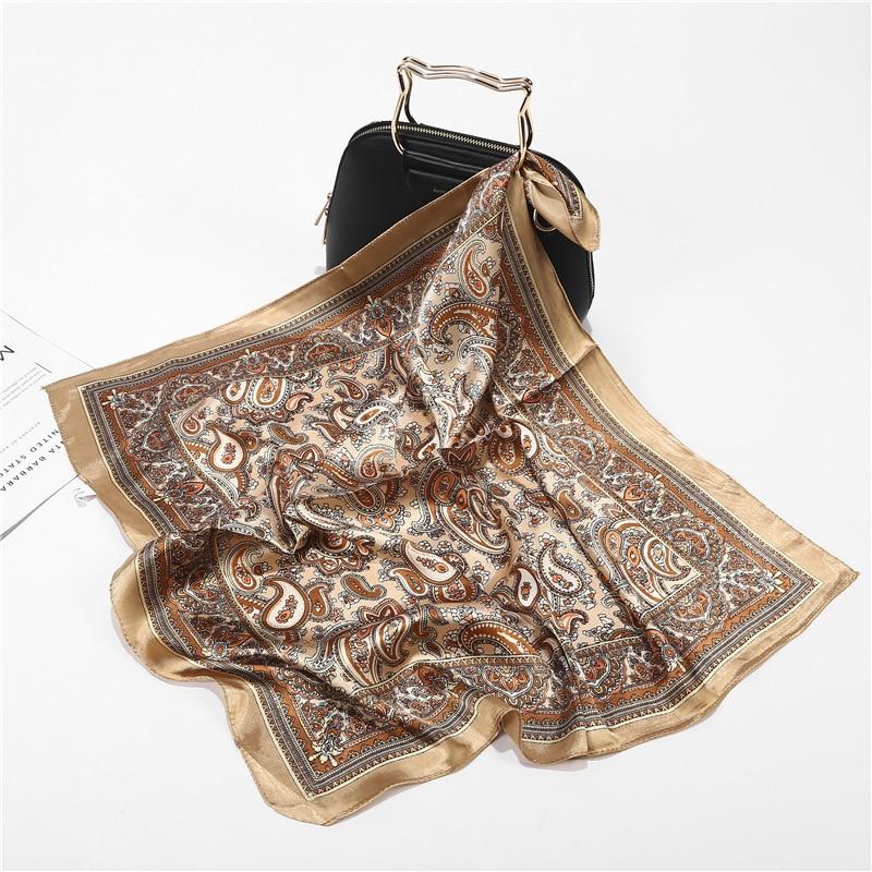 Шарф бандана из сатина и шелка женская летняя квадратная маленькая сумка с запахом богемные Ретро Пейсли дамские шарфы индийский мусульман...