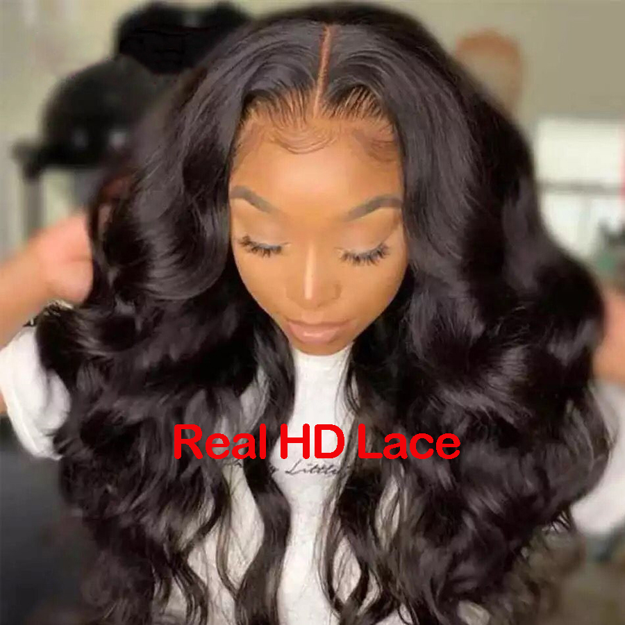 Real HD Lace Wig 250 Density Lace Front Human Hair Wigs Brazilian Body Wave 13x6 Lace Front Wigs Skin Melt Transparent Lace Wigs