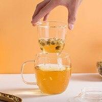 500ML Glas Tee Tasse mit Sieb Filter Teekanne mit Deckel Infuser Trinken Glas Kaffee Milch Saft Becher Hause Büro dinkware-in Teesiebe aus Heim und Garten bei