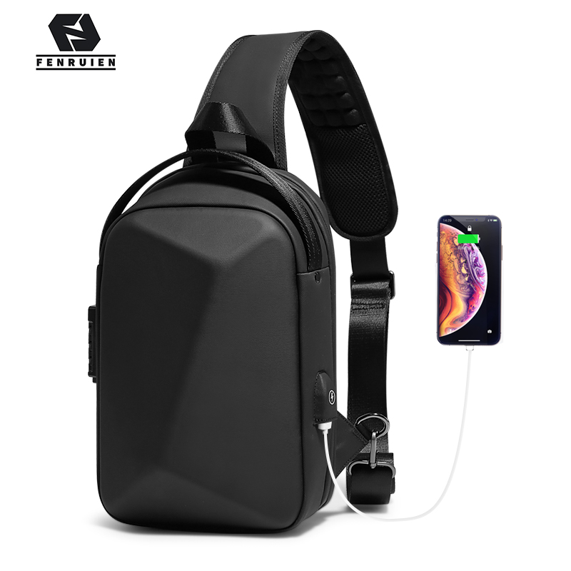 Fenruien 2020 New Crossbody Bag For Men Multifunction Anti-theft Waterproof Male Shoulder Bag Short Trip Chest Pack USB Charging