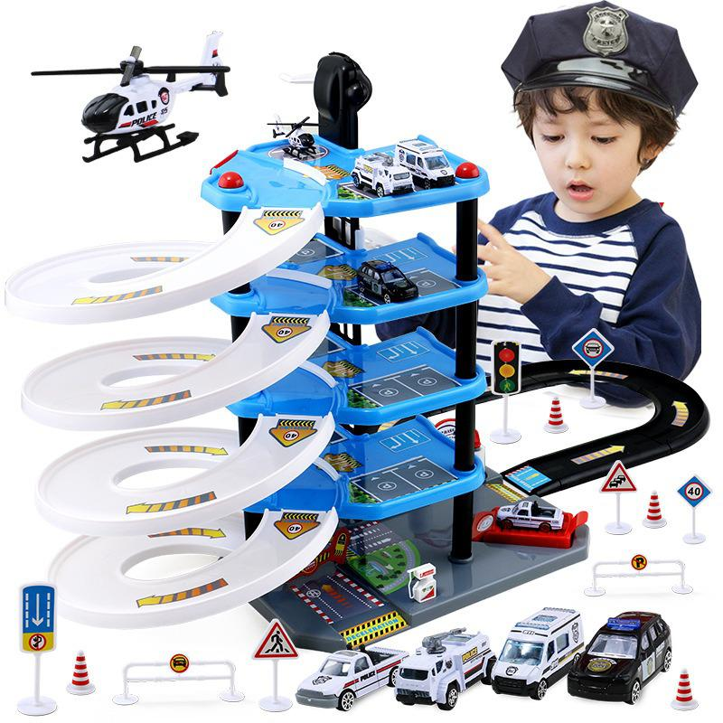 Children's Parking Lot Toy Suit Multilayer Track Car Toys Boys'puzzle Toys Christmas Surprise Gift