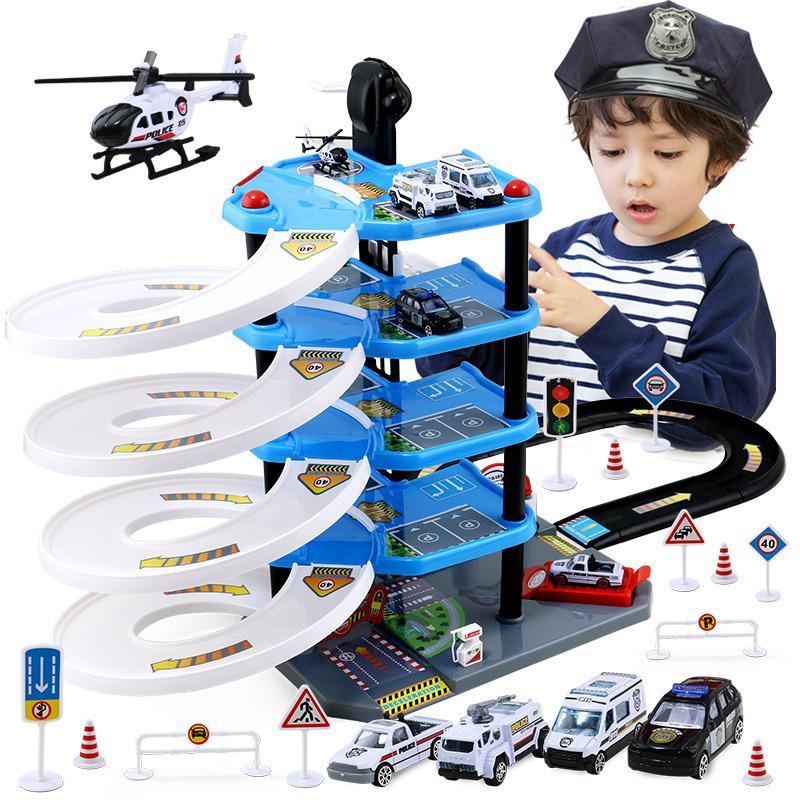 Children's Parking Lot Toy Suit Multilayer Track Car Toys Boys'puzzle Toys Christmas Surprise Gift