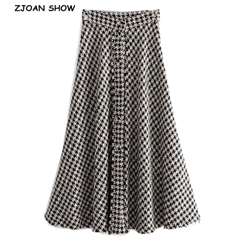 2019 New High Waist Soft Woolen Check Gingham Plaid Skirts Vintage Woman Front Single-breasted Button A Line Swing Midi Skirts
