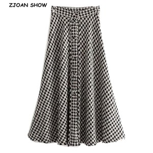 Image 1 - 2019 New High Waist Soft Woolen Check Gingham Plaid Skirts Vintage Woman Front Single breasted Button A line Swing Midi Skirts