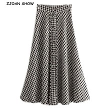 2019 nova cintura alta macio de lã verificar gingham saias xadrez mulher do vintage frente single breasted botão uma linha swing midi saias