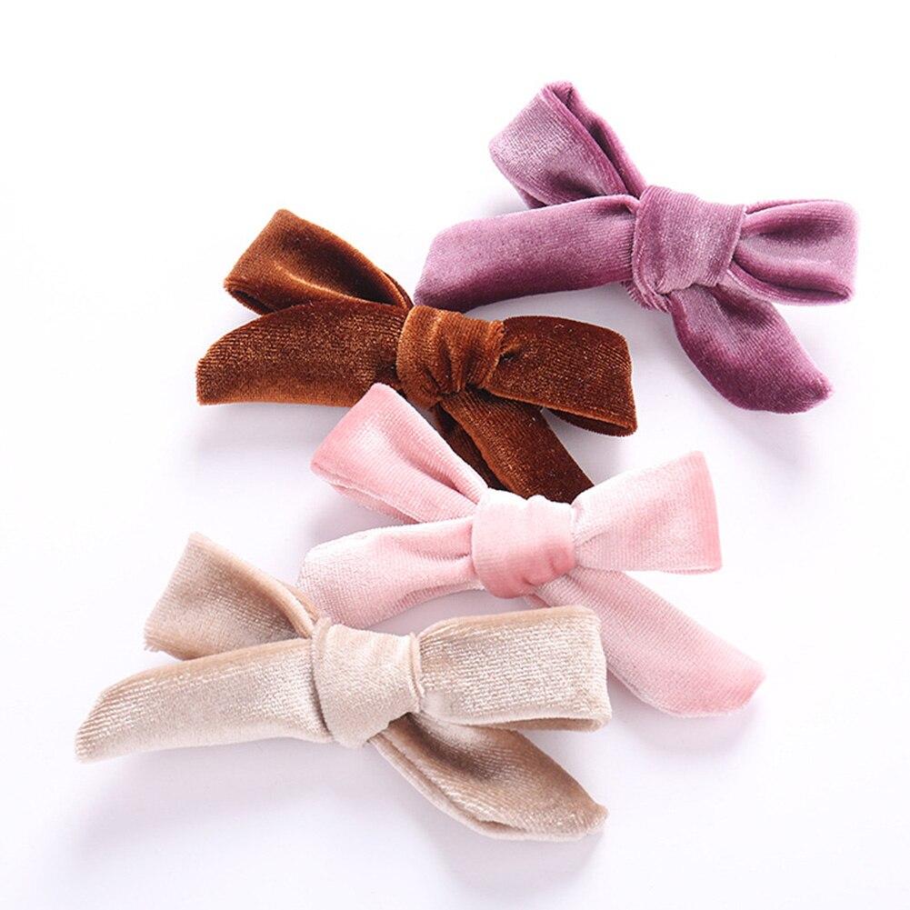 Kids Soft Velvet Bow Hairpins Solid Cross Knot Hair Clip Girls Hair Accessories