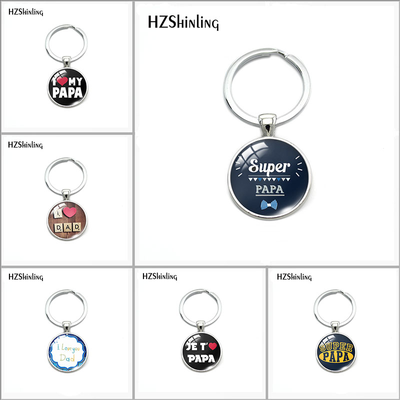 2018 New Fashion Je T'aime Papa Star Keychain Fathers Gifts Super Papa I Love Dad Key Chain Ring Holder For Dad Men Jewelry