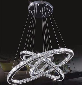 3 pierścień nowoczesny K9 kryształowy żyrandol Nordic led wiszące lampy Hanglamp oświetlenie Lustre sufit kryształowy żyrandol okrągły tanie i dobre opinie OLOEY Klin Brak 90-260 v Shadeless Montażu podtynkowego Żyrandole 2 Years Nowoczesne Żarówki led led Crystal pendant lights