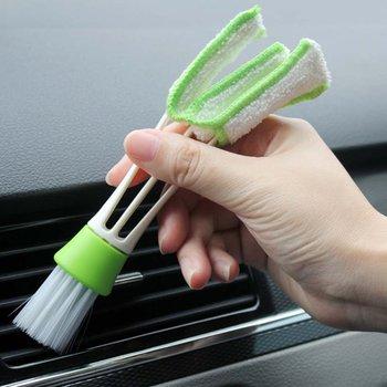 2 en 1 Cepillo de doble cabezal de aire acondicionado aire cepillo de limpieza de salida del Panel de instrumentos cepillo para polvo suave Multi-propósito cepillo