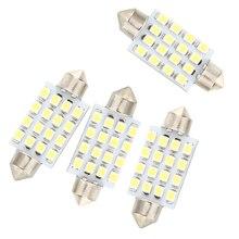 цена на 4 Pcs 42mm 16 SMD LED White Car Dome Festoon Interior Light Bulb