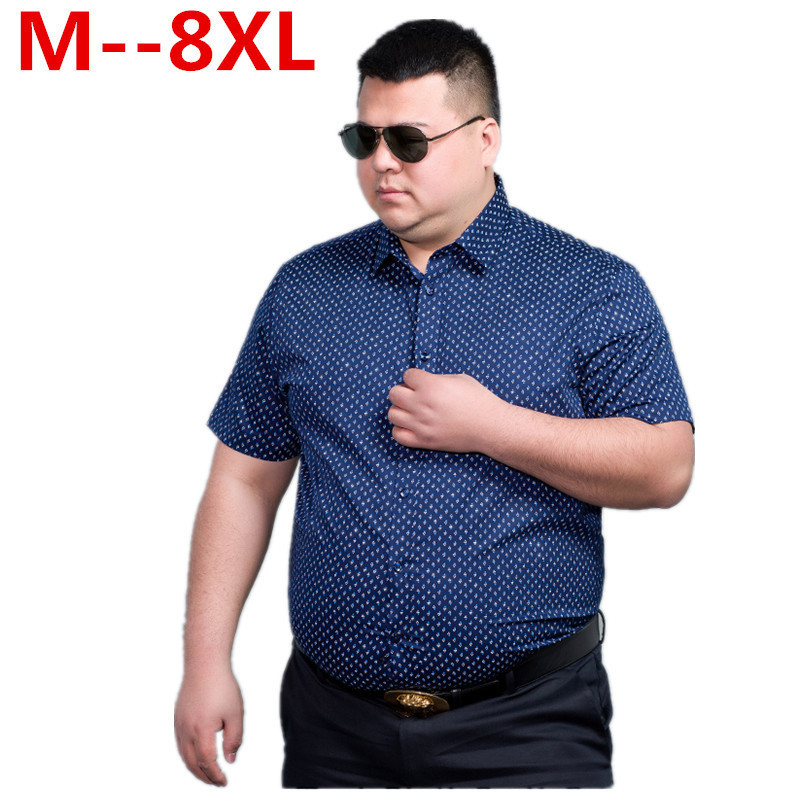10XL 9XL 8XL 6XL 5X Men Fashion Loose Fit Casual Shirts Short Sleeve 100% Cotton Dress Shirts Patchwork Trendy Style Male Shirts