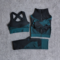 3PcsSetDarkGreen - Women Seamless Fitness Yoga Suit Color-blocked Sportwear