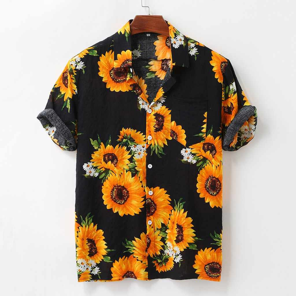 Mode Plus Größe Shirts Herren Sommer Sunflower Muster Shirts Casual Kurzarm Strand Lose Bluse 2020 Hawaiian Shirt #3