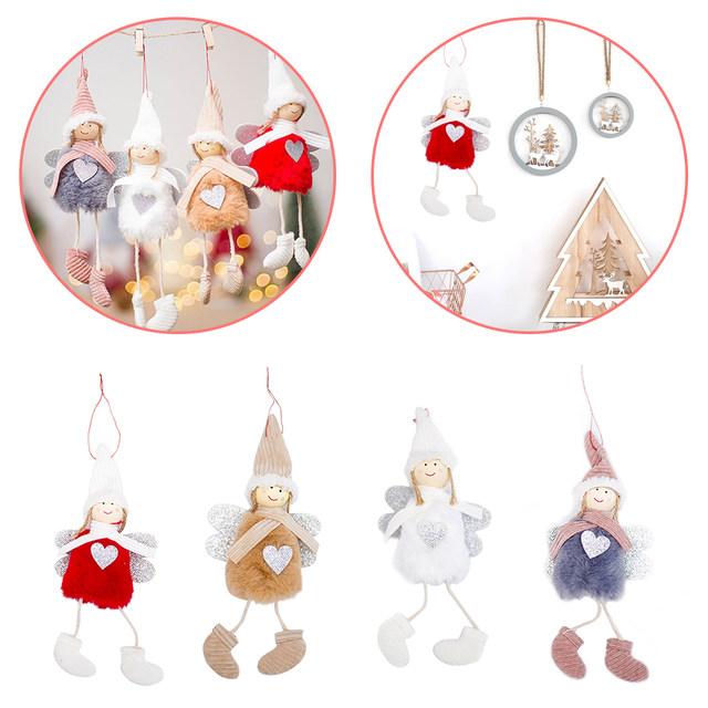 Happy New Year 2020 Latest Christmas Cute Silk Plush Angel Doll Xmas Tree Ornaments Christmas Decoration For Home Kids Gifts 14
