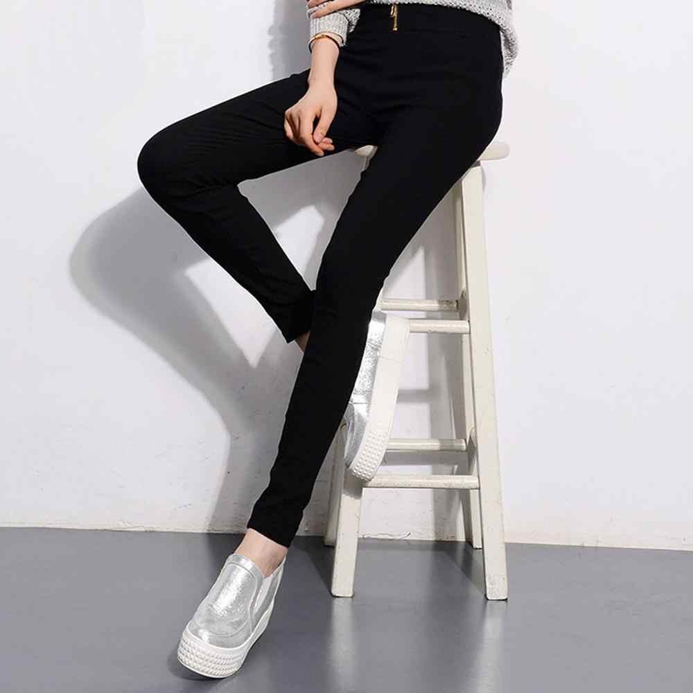 Moda kadın yüksek bel sıska streç kalem pantolon Slim Fit pantolon şık kadın fermuar femme uzun pantolon J30