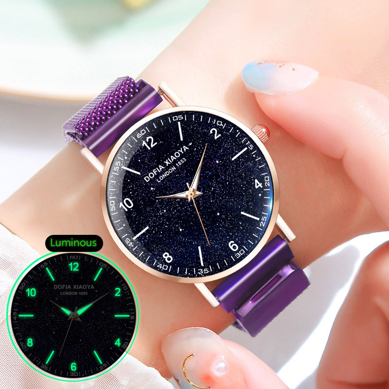 Women Watches Creative Magnet Starry Sky Watch Luminous Arabic Clock Ladies Milanese Loop Wrist Watch Waterproof Rose Gold Hour