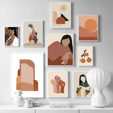 Абстрактная девушка оранжевая винтажная Скандинавская настенная
