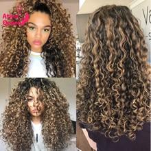 Ombre mel loira peruca colorida mongol afro kinky encaracolado peruca 13x6 destaque hd peruca de renda transparente 250 densidade remy preplucked