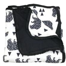 Black Bear Six Layers 100% Bamboo FIber Muslin Blanket For Newborn Baby Swaddling Super Comfy Bedding Blankets Swaddle Wrap
