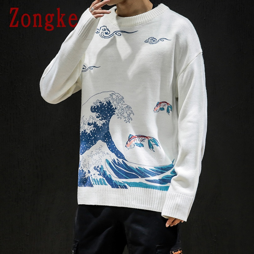 Zongke 2019 New Autumn Winter Casual Sweater Men Wave Print Slim Fit Knitted Pullover Men Fashion Brand Mens Sweaters Warm M-5XL