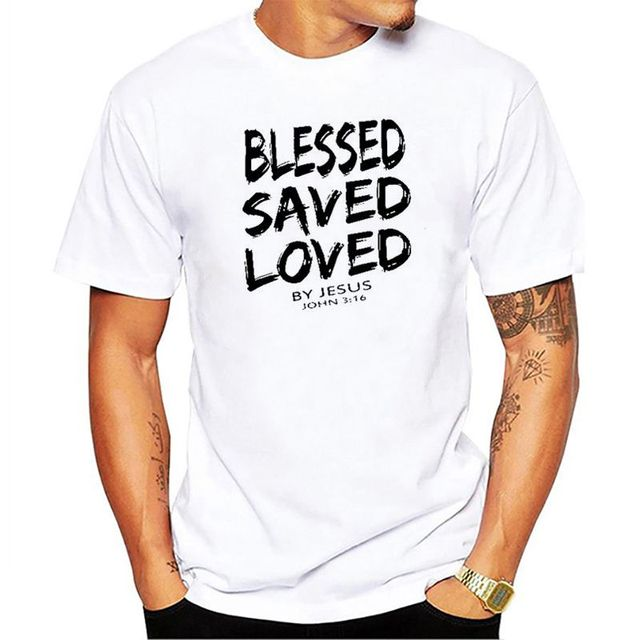 2019 New Summer Funny Tee Christian Jesus BLESSED SAVED LOVED John 3 16 Bible Lines Cotton T Shirt for men 1