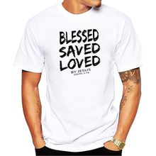 2019 New Summer Funny Tee Christian Jesus BLESSED SAVED LOVED John 3 16 Bible Lines Cotton