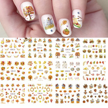 1 Pcs Nail Art Water Decals Transfer Stickers Winter Fall Autumn Maple Leaf Tree Nail Decoration Pumpkin Ongles Design