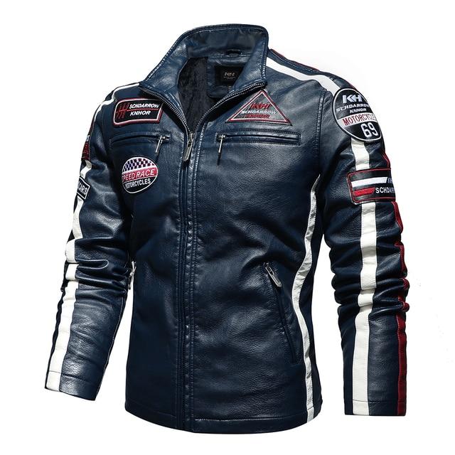 Mens Vintage Motorcycle Jacket 2020 Men Fashion New Biker Leather Jacket Male Embroidery Bomber Coat Winter Fleece Pu Overcoat 2