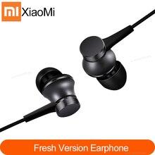 Mais novo 100% original xiaomi mi fones de ouvido pistão 3 versão fresca in ear com controle de fio mic para o telefone móvel