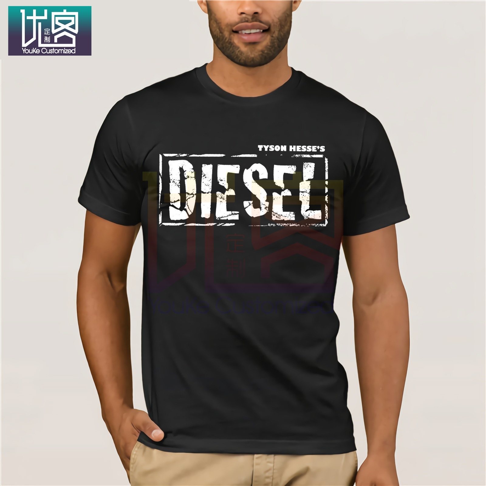White Diesel Logo Shirts Clothes Popular T-shirt Crewneck 100% Cotton Tees Tops Summer Tees Cotton O Neck Herre T-Shirt
