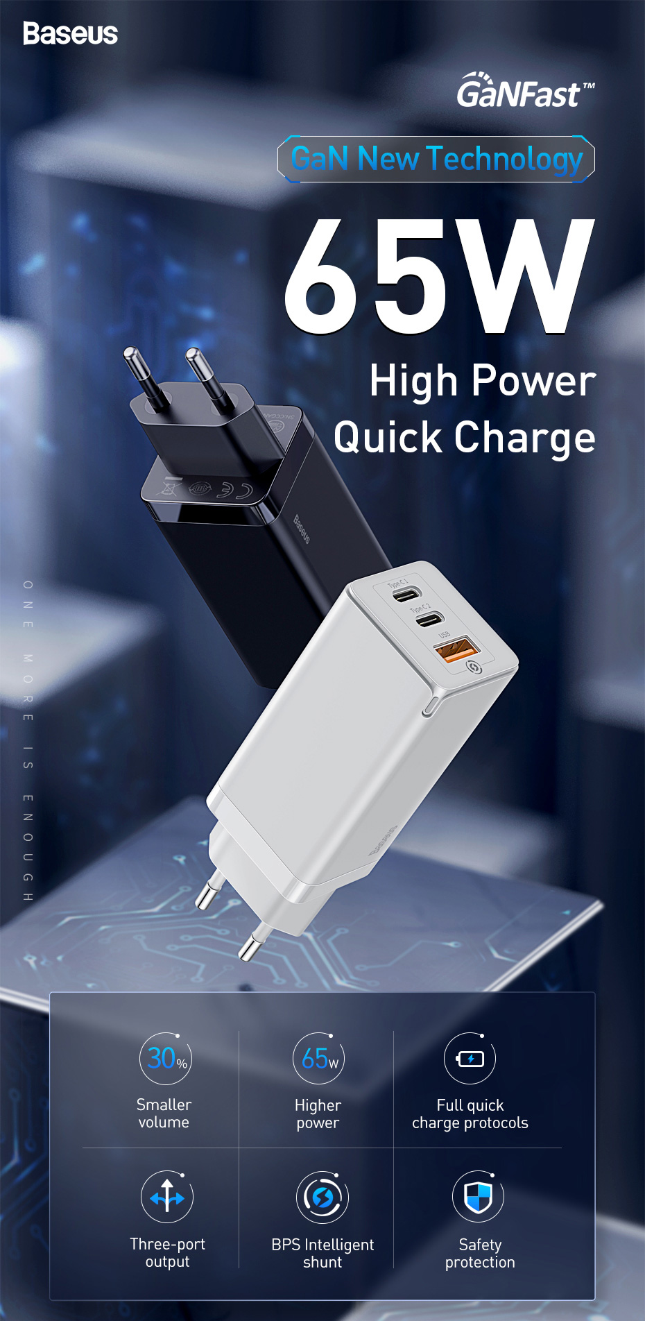 Baseus GaN 65W USB Quick Mobile Phone Charger 6