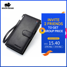 BISON DENIM Luxury Brand Men Wallet Cowskin Leather Men's Purse Zipper Pocket Quality Male Clutch Genuine Leather Purse N8206