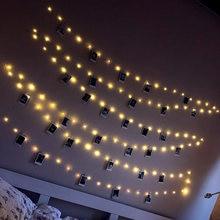 LED string lichter angetrieben durch Batterie Foto clip Girlande USB fee licht Hause Dekoration Weihnachten Hochzeit Party Urlaub beleuchtung