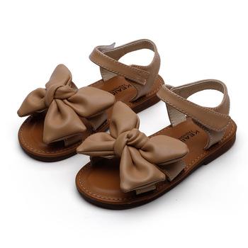 Dziewczęce sandały 2021 letnie nowe dziecięce sandały dziewczęce kokardki miękkie dno sandały dziewczęce moda antypoślizgowe księżniczka miękkie podeszwy sandały tanie i dobre opinie Vasilenko Skóra bydlęca 13-24m 25-36m 3-6y CN (pochodzenie) Lato Dziewczyny Miękka skóra Płaskie obcasy Hook loop