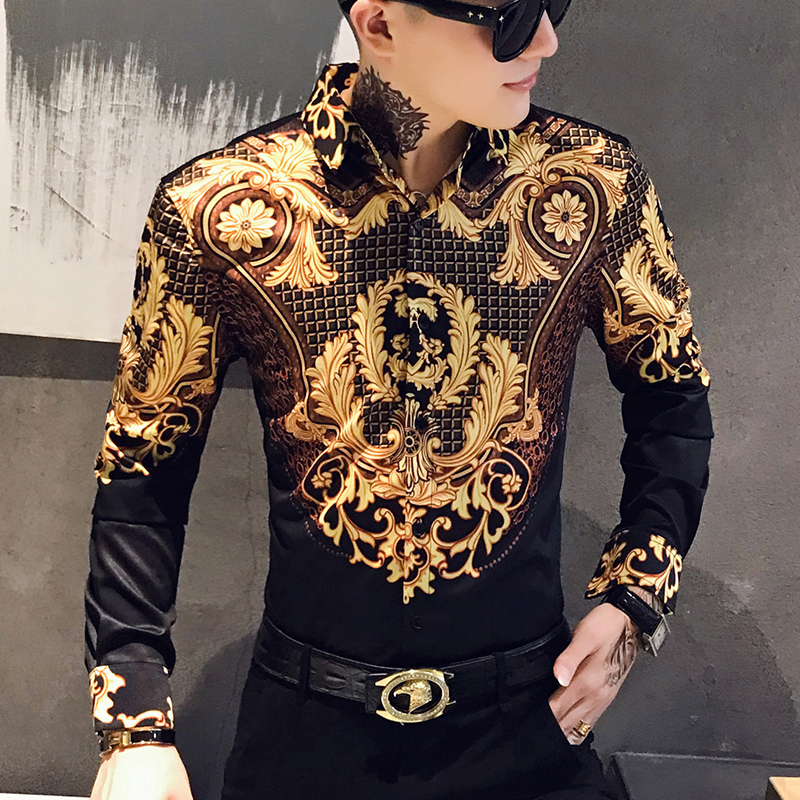 Casual Blouse Homme Baroque Banquet Shirt Paisley Black Gold Men Shirt Luxury Korean Mens Long Sleeve Print Shirts Men Slim Fit