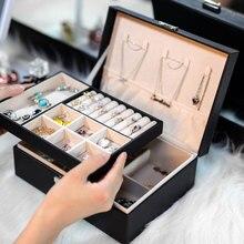 Exquise boîte à bijoux femmes en cuir emballage collier anneaux boucles doreilles Bracelet stockage organisateur affichage coffrets cadeaux étui