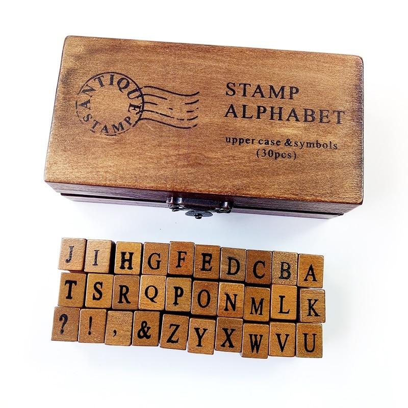 1set Alphabet Letter Stamp Set Uppercase&Lowercase Letter Retro Wooden Box