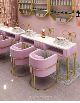 Marmurowy stół do manicure i zestaw krzeseł netto czerwony pojedynczy podwójny stół do manicure podwójny stół do manicure stół roboczy tanie i dobre opinie Andessoer CN (pochodzenie) Metal iron Meble do salonu Stół paznokci Meble komercyjne