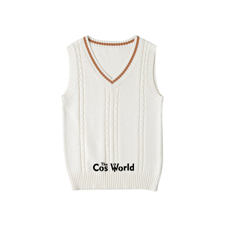 S-XXL Spring Autumn Orange Sleeveless Knit Vests Pullovers V Neck Sweaters For JK School Uniform Student Clothes