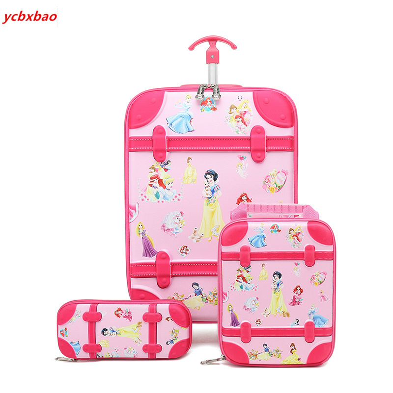 3PCS Cartoon Students Trolley Case Girls Climb Stairs School Bag With Wheels Travel Suitcase Kids Wheeled Backpack Pencil Box