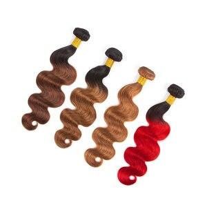 HairUGo перуанские волосы объемные волнистые пучки T1B/бордовый фиолетовый омбер человеческие волосы пучки купить с закрытием двойной уток не ...