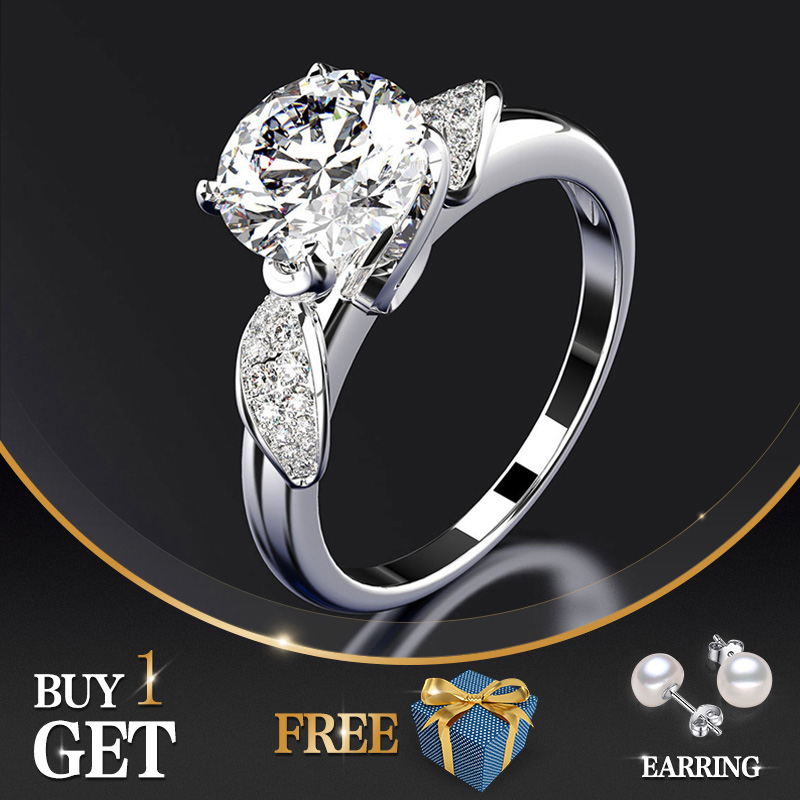 Jewepisode Classic 100% Real 925 Sterling Silver Rings For Women 8MM AAA Cubic Zircon Ring Fashion Fine Jewelry Wholesale Gift