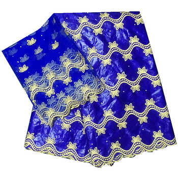 Blau bazin riche afrikanischen stoff 2020 neue baumwolle bazin bruder stoff mit tüll spitze bluse stickerei 5 + 2 yards