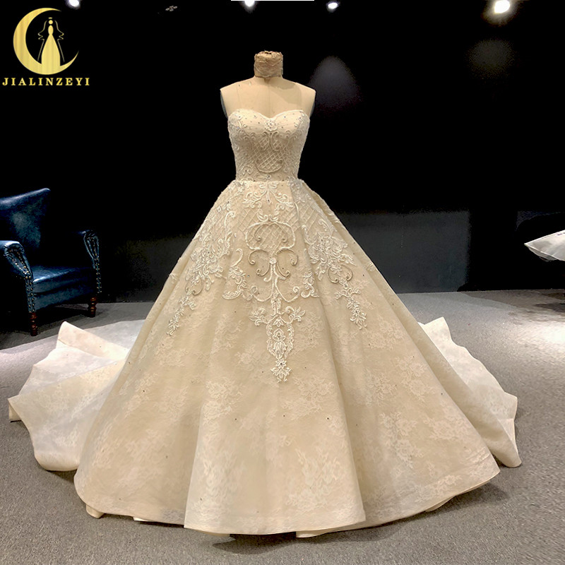 Rhine Real Sweatheart Light Champagne Lace Appliques Crystal Long Train Wedding Dresses Wedding Gown