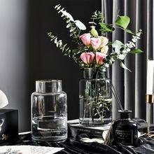 Florero de decoración del hogar moderno jarrón de cristal transparente, decoración nórdica, jarrones para el hogar, flores, sala de estar, café, florero de la encimera, regalo